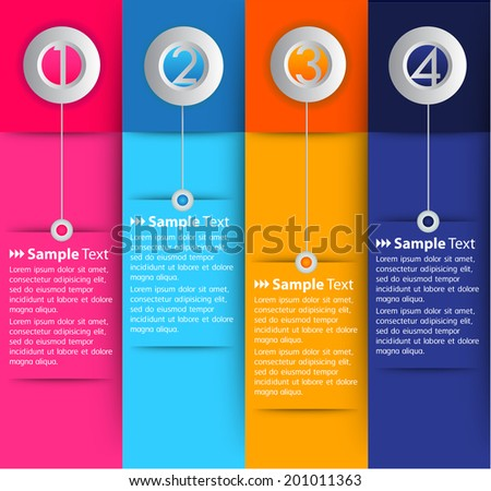 column colorful tex box, number. - stock vector