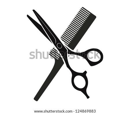Comb and scissors - stock vector