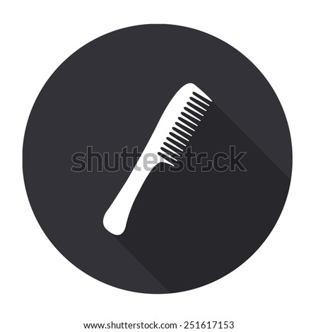 comb icon with long shadow - vector round button - stock vector