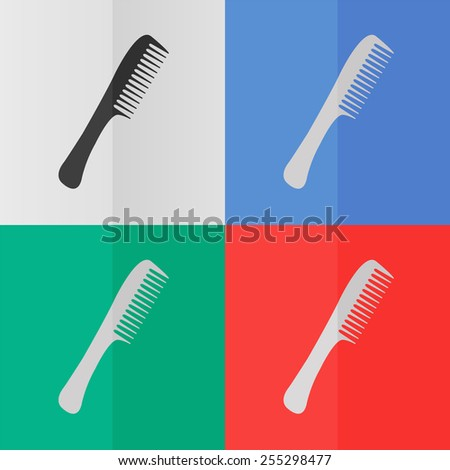 Comb vector icon. Effect of folded paper. Colored (red, blue, green) illustrations. Flat design - stock vector
