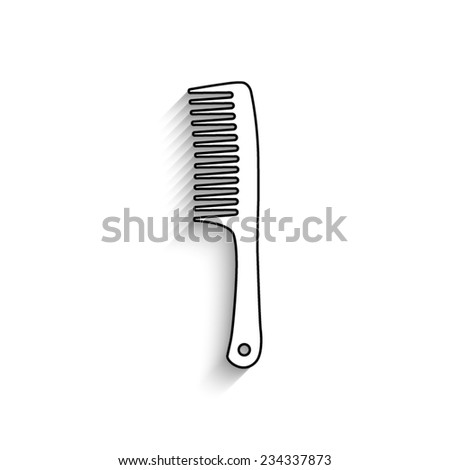 Comb   - vector icon with shadow - stock vector
