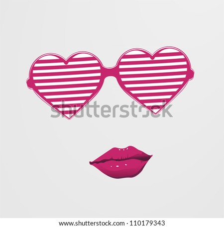Combination heart and glasses with lips - stock vector