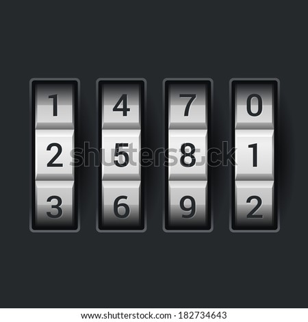 Combination lock number code. on dark background Vector - stock vector
