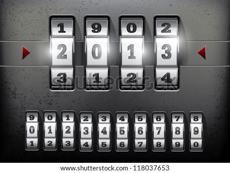 Combination lock showing the number of the year 2013 - stock vector