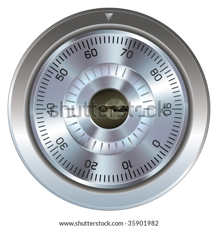 Combination lock with keyhole.  Typically found on a bank or gun safe.  Dial operation is fully detailed along with an accurate keyhole.  Security symbol. - stock vector