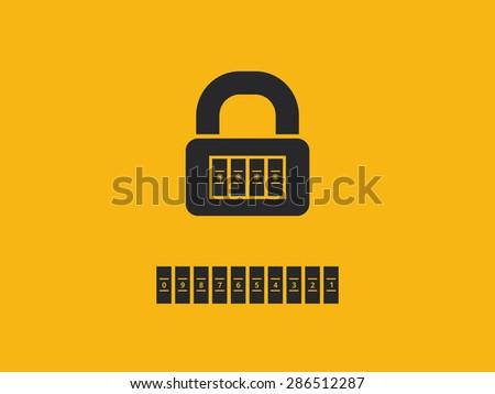 Combination lock with password - stock vector