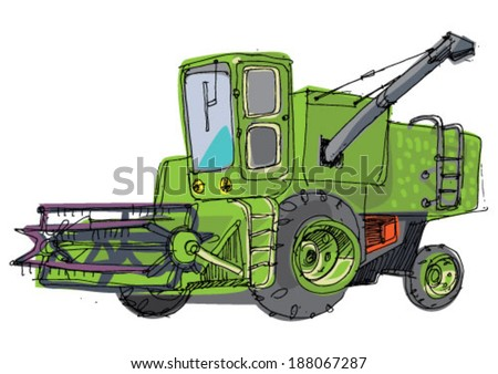 combine harvester - cartoon - stock vector
