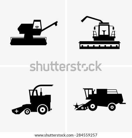 Combine harvesters - stock vector