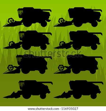 Combine harvesting crop wheat, barley, rye, oats and corn grain fields in background vector silhouette illustration - stock vector