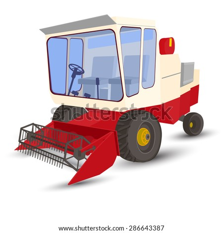 combineharvester, vector, white background, red and white, transparent windows - stock vector