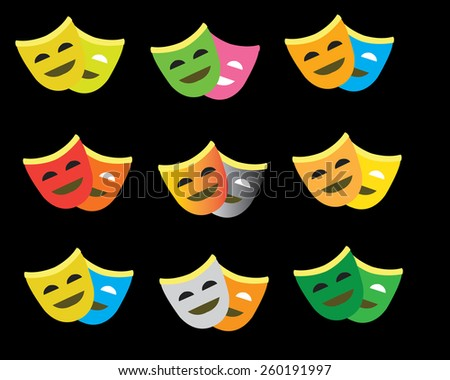 Comedy and tragedy theatrical mask  - stock vector