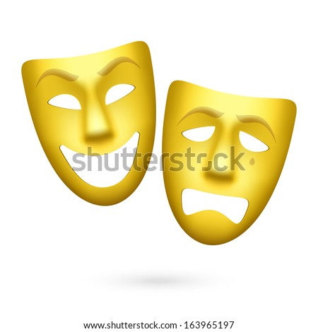 Comedy and tragedy theatrical masks. Vector. - stock vector