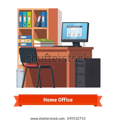 Comfortable home workplace with desktop on the desk, chair and a bookcase. Flat style illustration or icon. EPS 10 vector. - stock vector