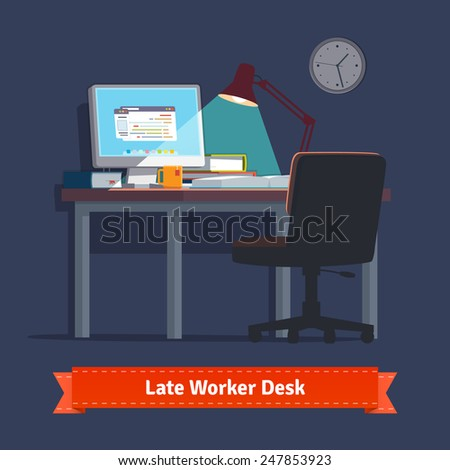 Comfortable home workplace with turned on desktop on the desk, wheelchair, lamp and some books. Working late at night. Flat style illustration or icon. EPS 10 vector. - stock vector