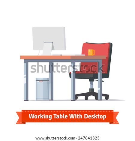 Comfortable modern workplace with desktop, wheelchair and a trashcan. Flat style illustration or icon. EPS 10 vector. - stock vector