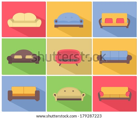 Comfortable sofas and couches furniture icons set for living room vector illustration - stock vector