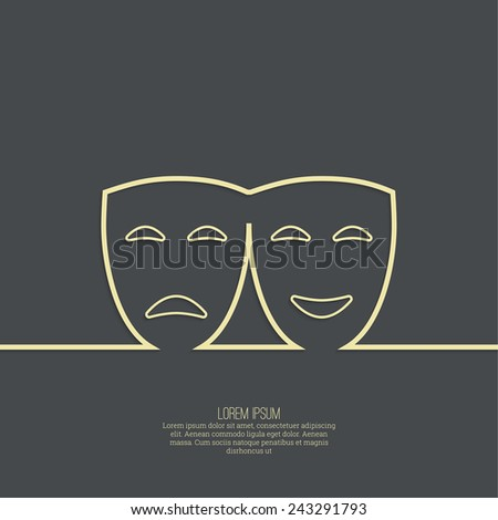 Comic and tragic theatrical mask. Drama, tragedy, humor, comedy, performance genres. Outline - stock vector