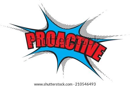 Comic Balloon Power Word: Proactive - stock vector