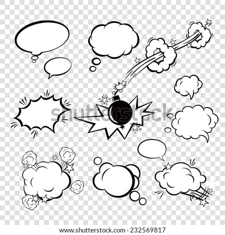 Comic black blank text speech bubbles in pop art style with cartoon bomb set vector illustration - stock vector