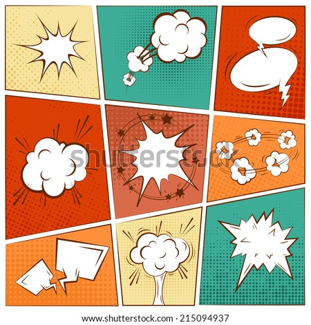 Comic blank text speech bubbles in pop art style set vector illustration - stock vector