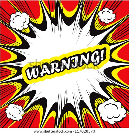 Comic book background Warning! sign Card Pop Art - stock vector