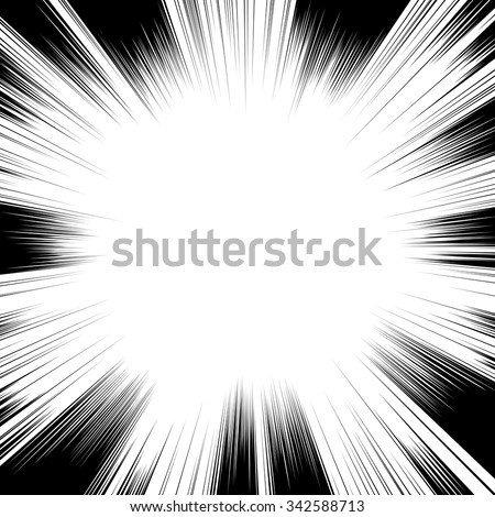Comic book black and white radial lines background. Manga speed frame.Superhero action. Explosion vector illustration. Square stamp. - stock vector