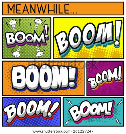 Comic Book Collection-BOOM - stock vector