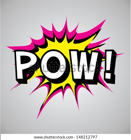 Comic book explosion bubble, vector illustration, pow - stock vector