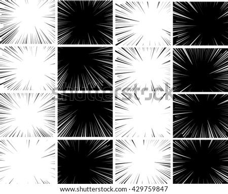 Comic book explosion set superhero pop art style black and white radial lines background. Manga or anime speed frame. - stock vector