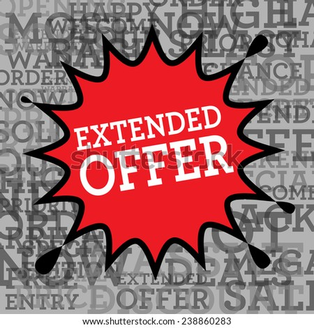 Comic book explosion with text Extended Offer, vector illustration - stock vector