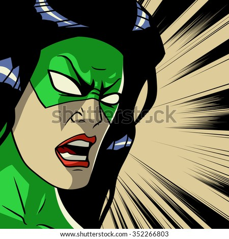 Comic book green stylized superhero. Pop art outline square background. Cry face. Action and power. Print vector illustration. Strong, character. - stock vector
