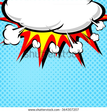 Comic book illustration with explosion on top. Vector illustration - stock vector
