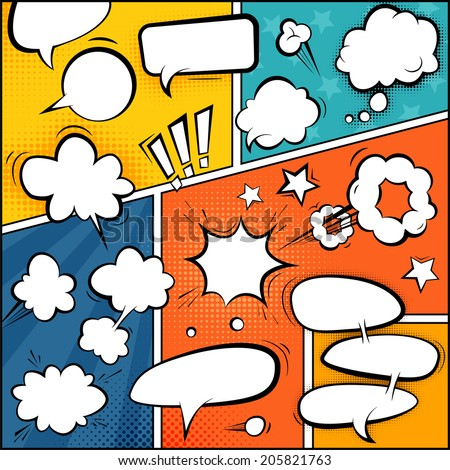 Comic Book Page Mock-Up. Set of Speech Bubbles and Halftone Backgrounds. - stock vector