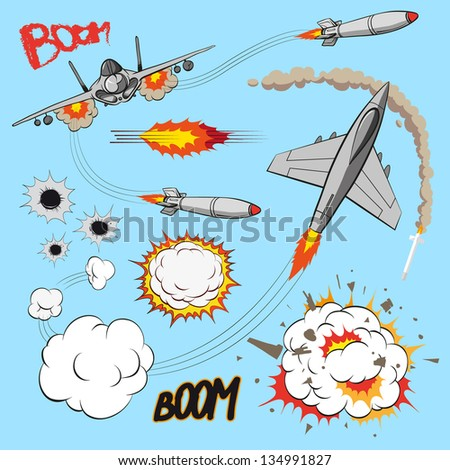 Comic book set of planes - stock vector