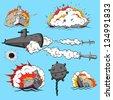 Comic book set of warships - stock vector