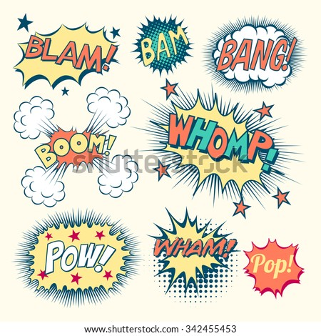 Comic Book Sound Effects - Collection of vintage comic book speech bubbles and sound effects.  Each object is grouped individually and colors are global swatches.   - stock vector
