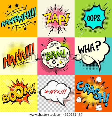 Comic book speech bubbles and expression words. - stock vector