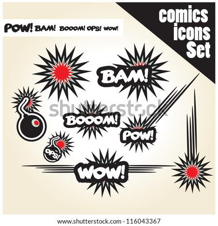 comic book style bombs boom bam wow pow ops  explode - stock vector