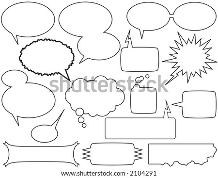 comic book style talk bubbles and boxes - stock vector