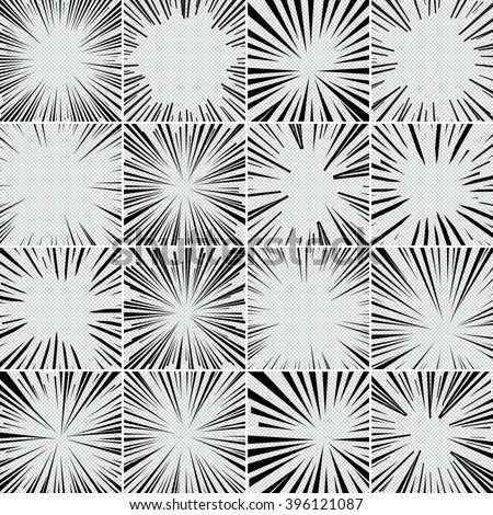 Comic book superhero pop art style black and white radial lines background. Manga or anime speed frame. Big collection of Explosion. - stock vector