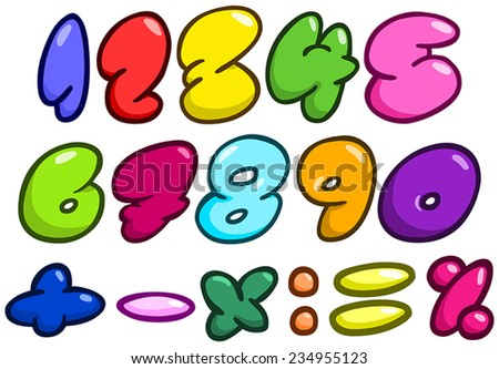 Comic bubble shaped numbers and math symbols set - stock vector