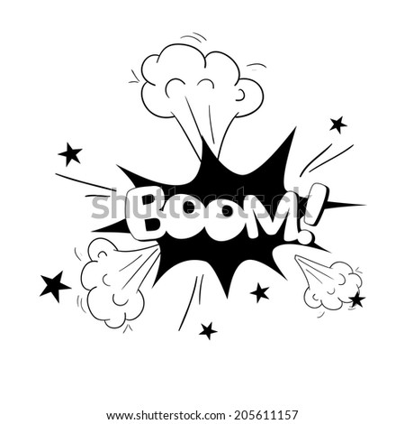 Comic bubbles vector isolated black and white illustration, explosion Sound - stock vector