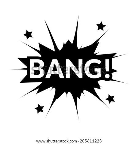 Comic bubbles vector isolated black and white illustration, gun mechanical sounds - stock vector