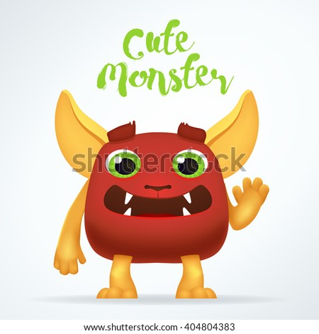 Comic Cartoon red creature character with cute monster lettering. Fun mutant isolated on light background - stock vector