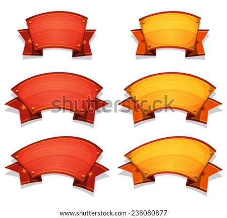 Comic Circus Banners And Ribbons For UI Game/ Illustration of a set of funny cartoon circus red and yellow banners and ribbons, for carnival, holidays or UI game - stock vector