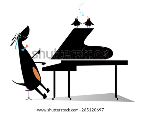 Comic dog plays music by piano and birds pipe - stock vector