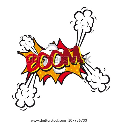 comic explosion and shock, boom. vector illustration - stock vector