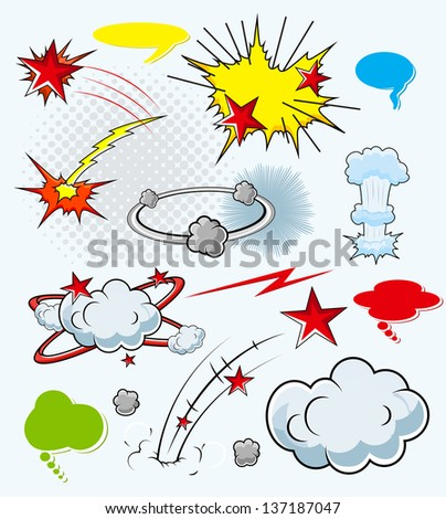 Comic Explosion Cloud Burst Expressions Vector Illustration - stock vector