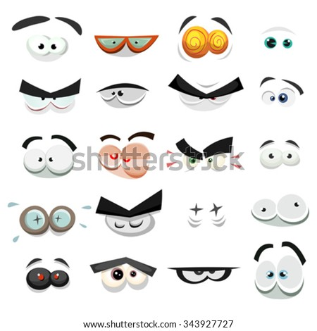 Comic Eyes Expression Set/ Illustration of a set of funny cartoon human, animals, pets or creatures eyes with various expressions and emotions, from fear to joy, happiness, sadness, surprise, sickness - stock vector