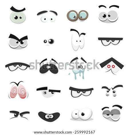 Comic Eyes Set/ Illustration of a set of funny cartoon human, animals, pets or creature's eyes with various expressions and emotions, from fear to joy, happiness, sadness, surprise, boring and angry - stock vector